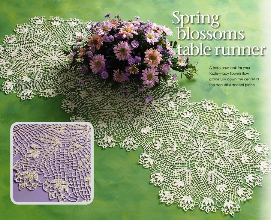 X229 Crochet PATTERN ONLY Spring Blooms Table Runner & Luncheon Set Pattern