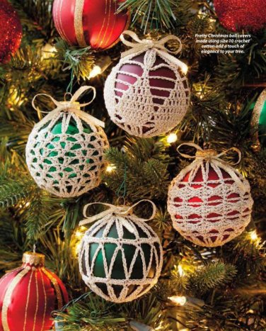 Y904 Crochet PATTERN ONLY 4 Fabulous Christmas Ornament Cover Patterns