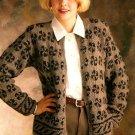 W093 Knit PATTERN ONLY Pinwheel Motif Cardigan Sweater Pattern
