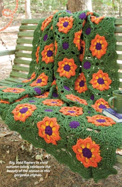 Y810 Crochet PATTERN ONLY Flower Tiles Throw Granny Afghan Pattern
