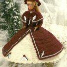 Y445 Crochet PATTERN ONLY 1860's Christmas Holiday Outfit Fashion Doll Barbie