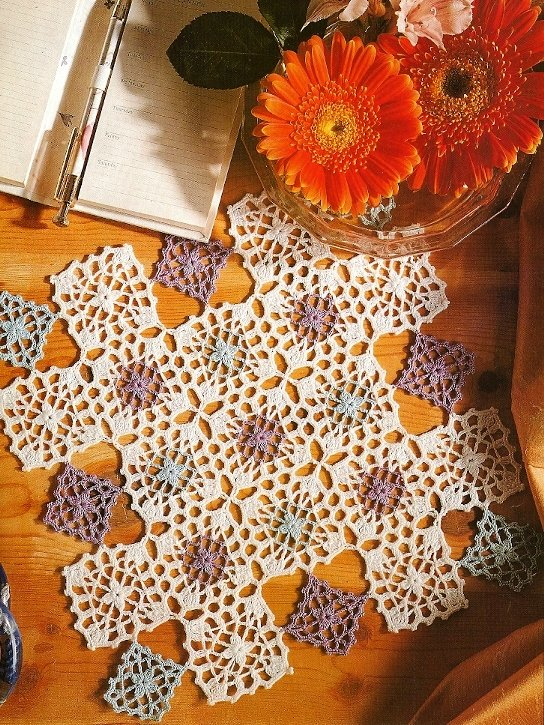 Y409 Crochet PATTERN ONLY Lavender's Blue Lacy Square Doily Pattern