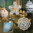 X741 Crochet PATTERN ONLY Snow Crystal Christmas Ornaments & Cover Pattern
