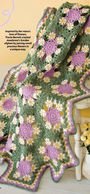 X656 Crochet PATTERN ONLY Josalynne�s Garden Afghan Pattern Flower