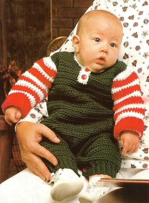 X465 Crochet PATTERN ONLY Christmas Coveralls Baby Outfit & Santa Slippers