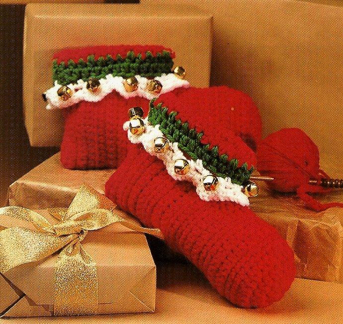 Y708 Crochet PATTERN ONLY Jingle Bells Slippers & Teen Holiday Hats Patterns
