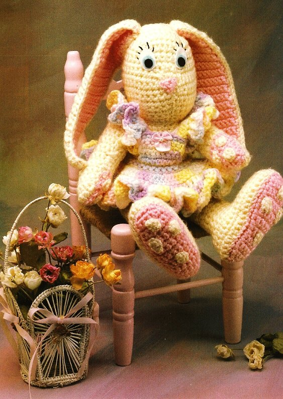 X162 Crochet PATTERN ONLY Bunny Doll with Dress Toy Rabbit Pattern