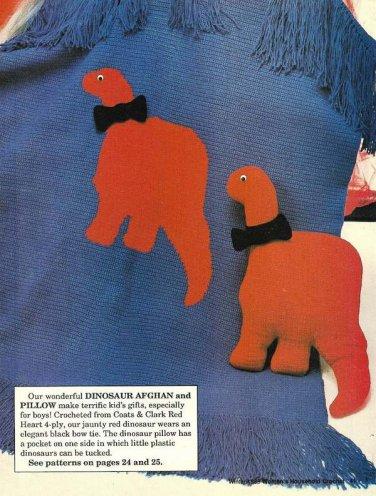 X029 Crochet PATTERN ONLY Dinosaur Afghan Pattern plus Bonus!