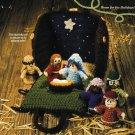 X498 Crochet PATTERN ONLY Nativity Scene Pattern 7 Pieces & Stable Creche