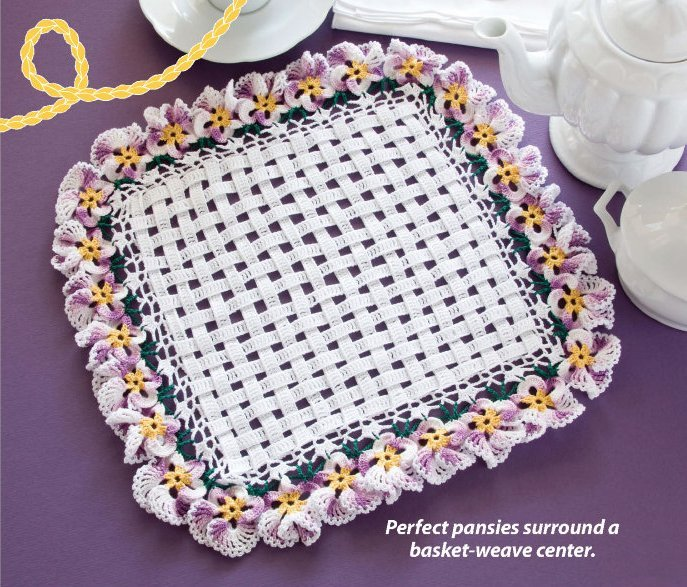 Y059 Crochet PATTERN ONLY Unique Square Pansy Doily Pansies Flower