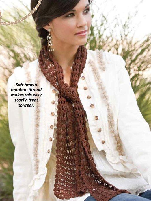 X282 Crochet PATTERN ONLY Lacy Bamboo Neck Piece Scarf Pattern