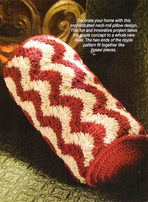 Y130 Crochet PATTERN ONLY Ripples Galore! Neck-Roll or Bolster Pillow