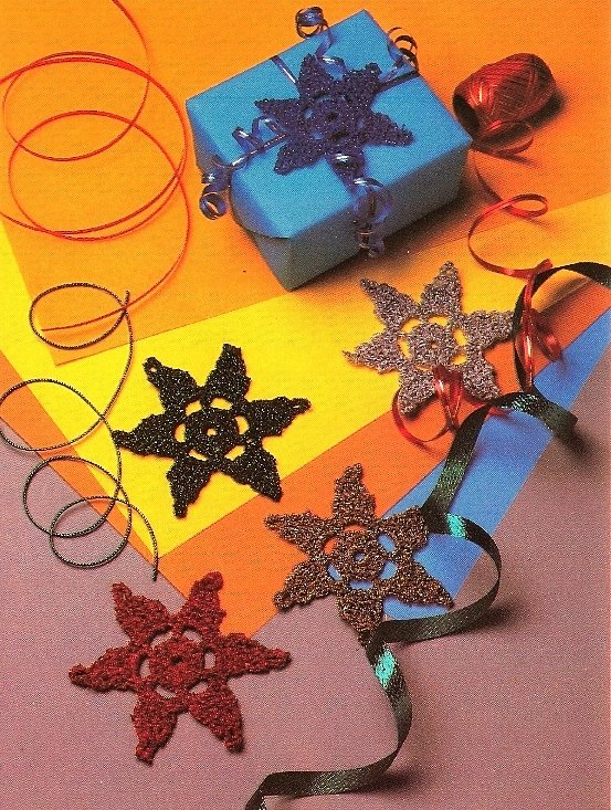 Y483 Crochet PATTERN ONLY 3 Star or Snowflake Christmas Ornament Patterns