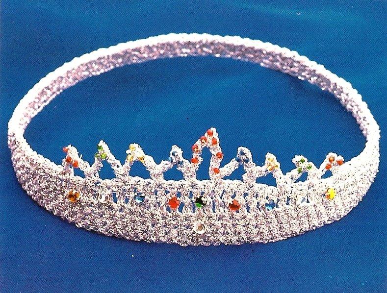 "Y963 Crochet PATTERN ONLY 6"" Tiara Crown Pattern"