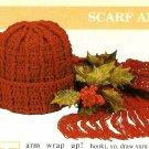 Y586 Crochet PATTERN ONLY Adult Size Hat & Scarf Pattern Set