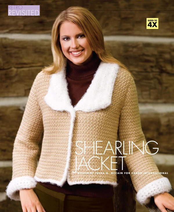 X368 Crochet PATTERN ONLY Shearling Jacket Pattern Plus Sizes too