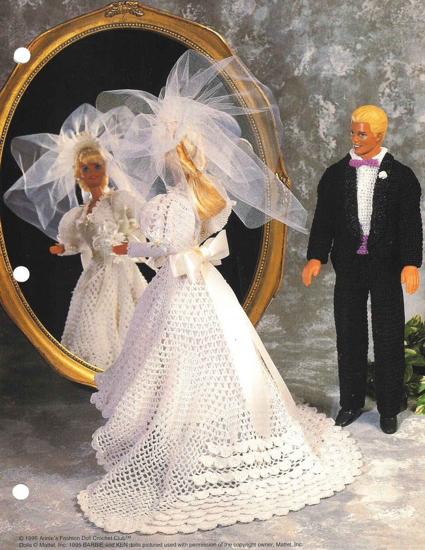 X038 Crochet PATTERN ONLY Springtime Bride & Groom Pattern Barbie Doll Ken