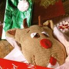 X060 Crochet PATTERN ONLY Rudy Reindeer Pillow & 3 Snowcapped Stocking Edging