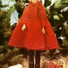Y443 Crochet PATTERN ONLY Little Red Riding Hood Cape Fashion Doll Barbie