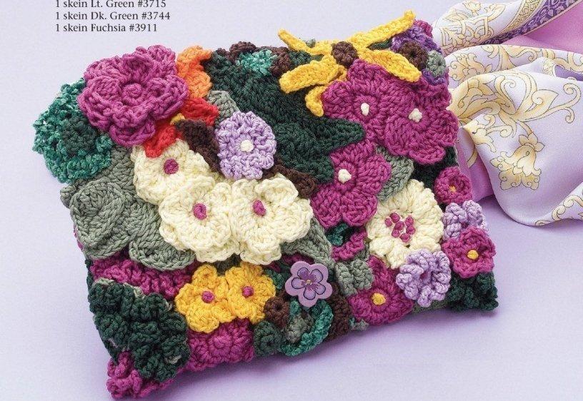 X877 Crochet PATTERN ONLY Bright Floral Clutch Purse Handbag