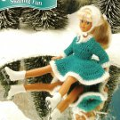 Y540 Crochet PATTERN ONLY Fashion Doll Blue Ice Skating Fun Dress & Hat Patterns