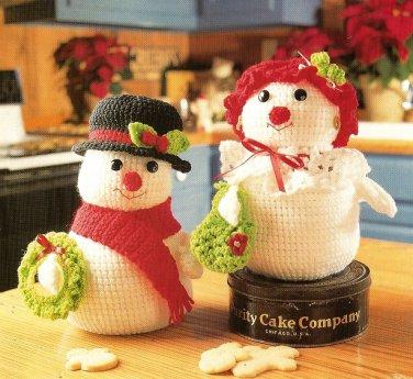 X463 Crochet PATTERN ONLY Snowman & Snowlady Cookie Jar Pattern