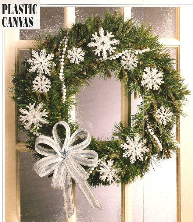 W446 Plastic Canvas PATTERN ONLY Snowflakes & Bow Christmas Ornament Patterns