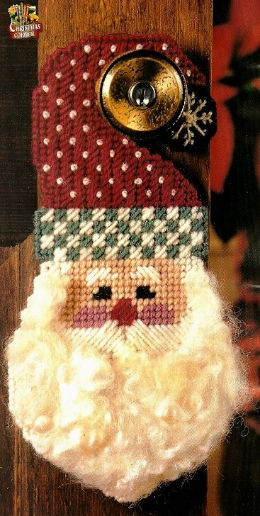 Y792 Plastic Canvas PATTERN ONLY Antique Santa Doorknob Hanger Christmas Pattern
