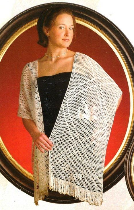 X313 Filet Crochet PATTERN ONLY Peace Dove Shawl Pattern