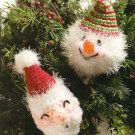 Y727 Crochet PATTERN ONLY Whimsical Santa Snowman Christmas Ornaments Patterns