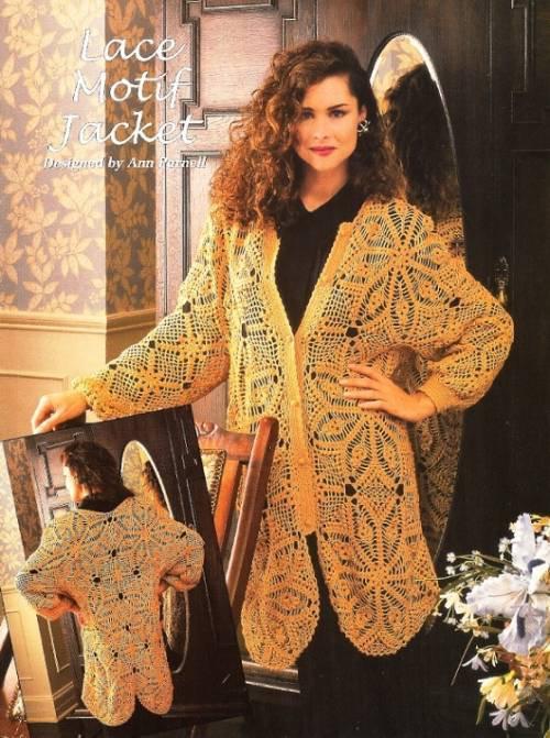 X754 Crochet PATTERN ONLY Ladies Lace Motif Long Jacket