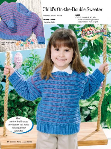 W288 Crochet PATTERN ONLY Child's On-the-Double Pullover Sweater Pattern