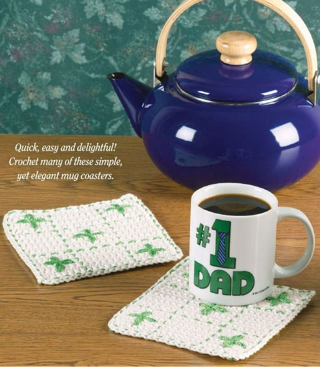 W068 Crochet PATTERN ONLY Embroidered Coffee Mug Coaster Pattern