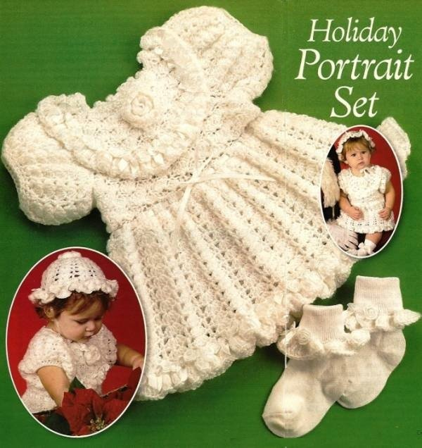 X506 Crochet PATTERN ONLY Toddler Holiday Portrait Set Dress Hat & Sock Edging