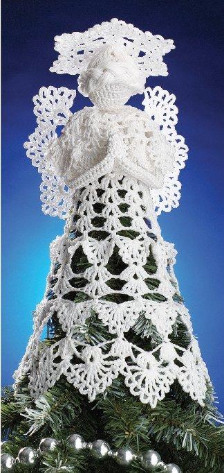 X617 Crochet PATTERN ONLY Heirloom Angel Tree-Topper Pattern & Filet Bells
