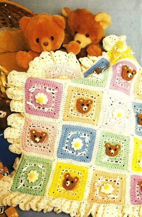 Y408 Crochet PATTERN ONLY Nursery Bears Baby Blanket Afghan Ruffles Pattern