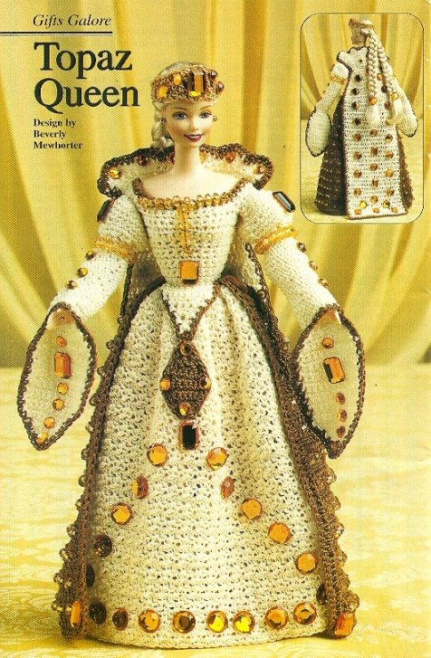 Y013 Crochet PATTERN ONLY Fashion Doll Barbie Topaz Queen Gown, Cape & Crown