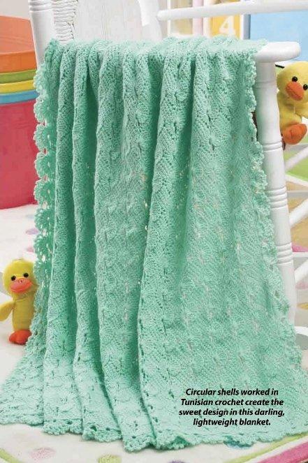 W379 Crochet PATTERN ONLY Tunisian Shells Baby Blanket Afghan Pattern