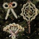 X443 Crochet PATTERN ONLY Dainty Victorian Christmas Ornaments Pattern Fan Bow