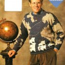 X370 Knit PATTERN ONLY Columbus Map Pullover Sweater Pattern Sizes up to 2XL