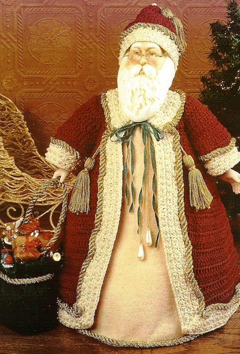 X665 Crochet PATTERN ONLY Old Fashioned Santa Claus Christmas Ornament