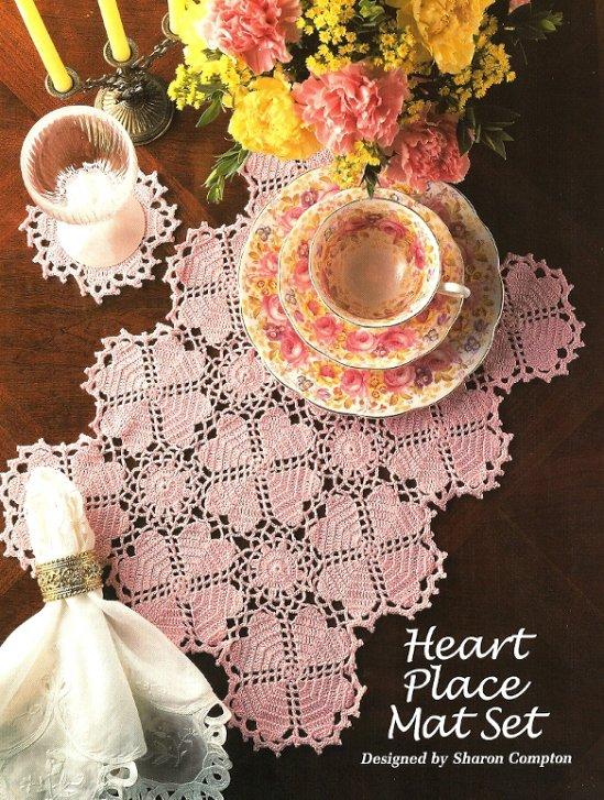 X708 Crochet PATTERN ONLY Heart Motif Placemat & Coaster Pattern