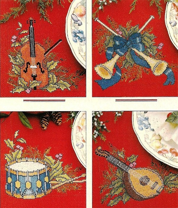 X929 Cross Stitch PATTERN ONLY Holiday Motif Placemat Violin Drum Horns Mandolin