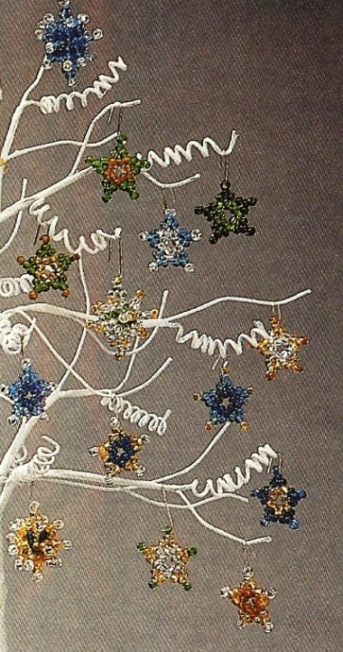 X944 Bead PATTERN ONLY 2 Star Christmas Ornaments in Two or Three Dimensions