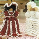 X939 Crochet PATTERN ONLY 2 Clothespin Dolls Peppermint Stick & Bride