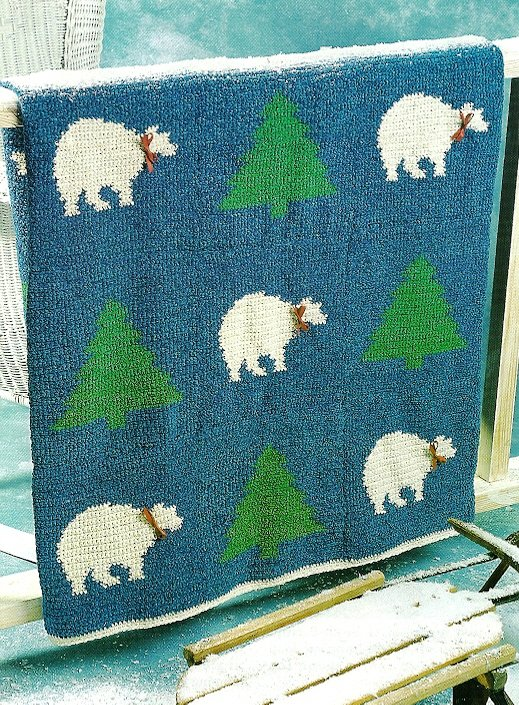 X592 Crochet PATTERN ONLY Festive Polar Bears Afghan Pattern