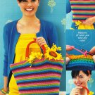 X544 Crochet PATTERN ONLY Colorful Carryall Tote Bag Pattern