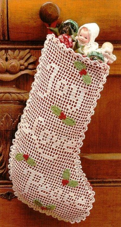 X062 Filet Crochet PATTERN ONLY Old-Time Christmas Stocking Joy Love Peace