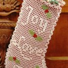 X062 Filet Crochet PATTERN ONLY Old-Time Christmas Stocking Joy Love Peace