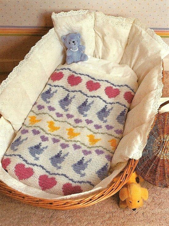 Y484 Crochet PATTERN ONLY Pretty Baby Blanket Pattern Heart Duck